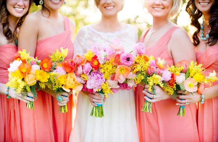 Gorgeous Yellow Pink Orange Red Bouquets for Bridesmaids and Bride