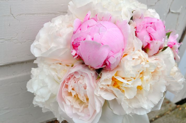 Stunning White and Pink Peony Bridal Bouquet