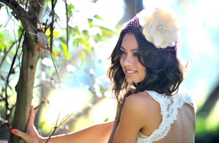 Unique Pink Birdcage Bridal Veil with Cream Flower