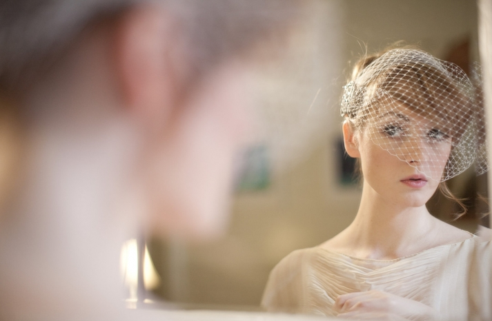 Simple Birdcage Bridal Veil with Jeweled Detail