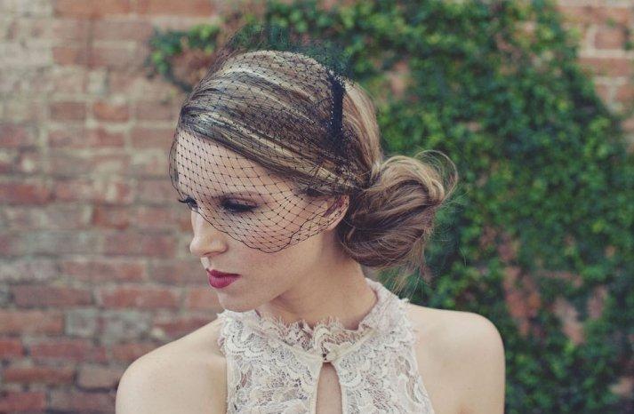 Classic Bridal Veil Birdcage Hair Accessory Black Net
