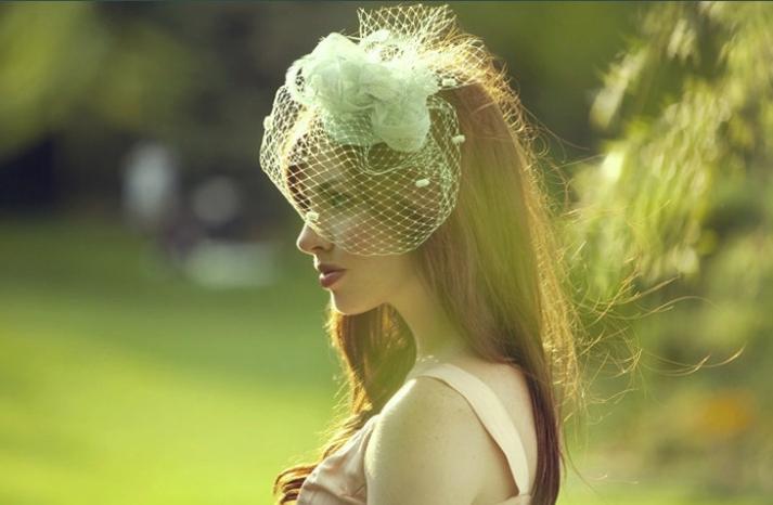 Mint Green Birdcage Bridal Veil
