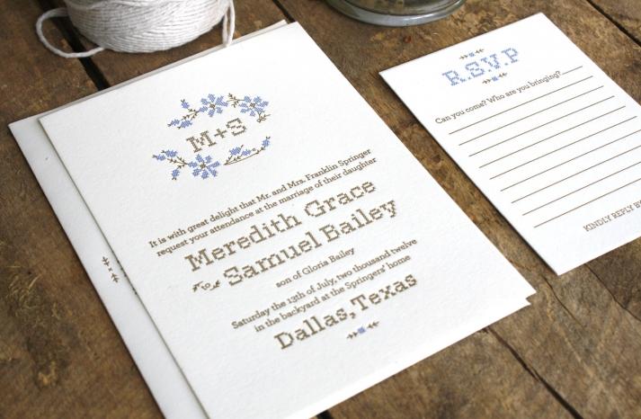 Rustic Romance Letterpress Wedding Invitations