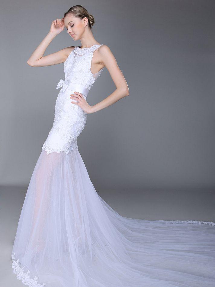 Lace Wedding Dress With Sheer Drop Waist Skirt