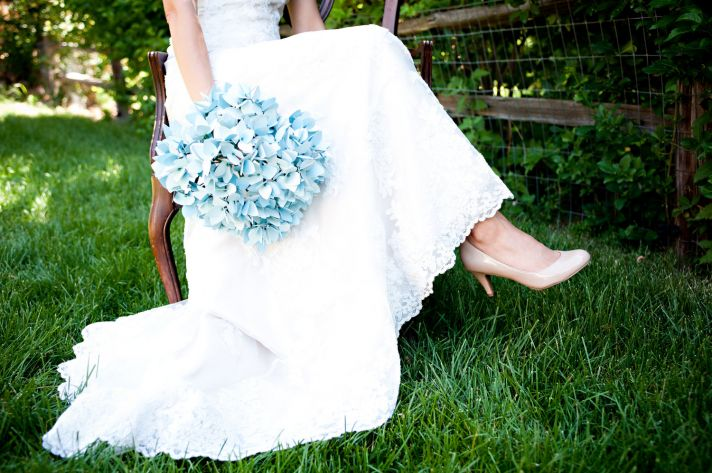 Alternative Wedding Bouquet Light Blue Paper Hydrangeas