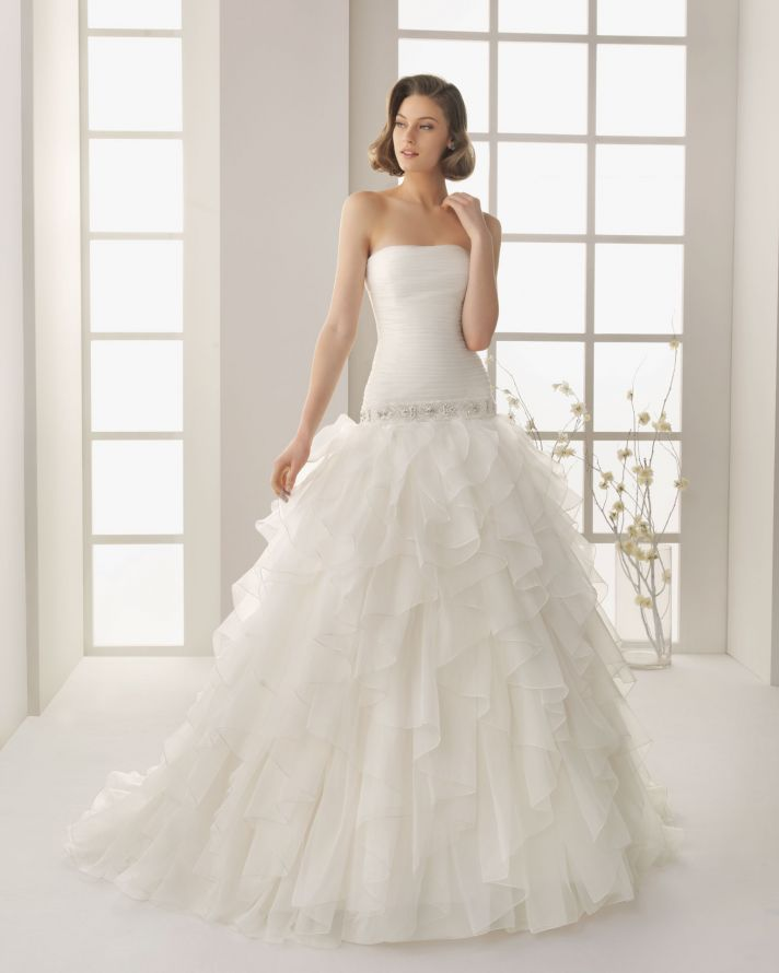 Classic Wedding Dress Strapless with Pleating Rosa Clara 2013