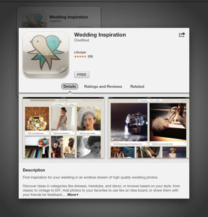 OneWed iPad Twitter Launch Party Wedding Inspiration iPad