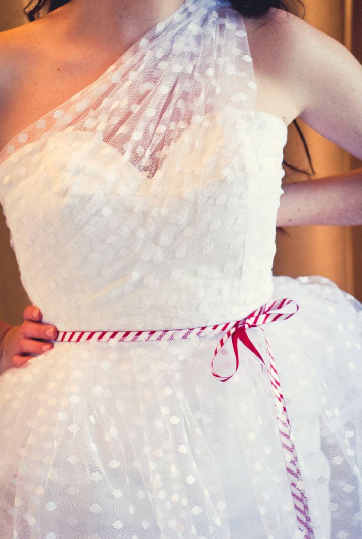 Sheer Polka Dot Net One Shoulder Wedding Dress