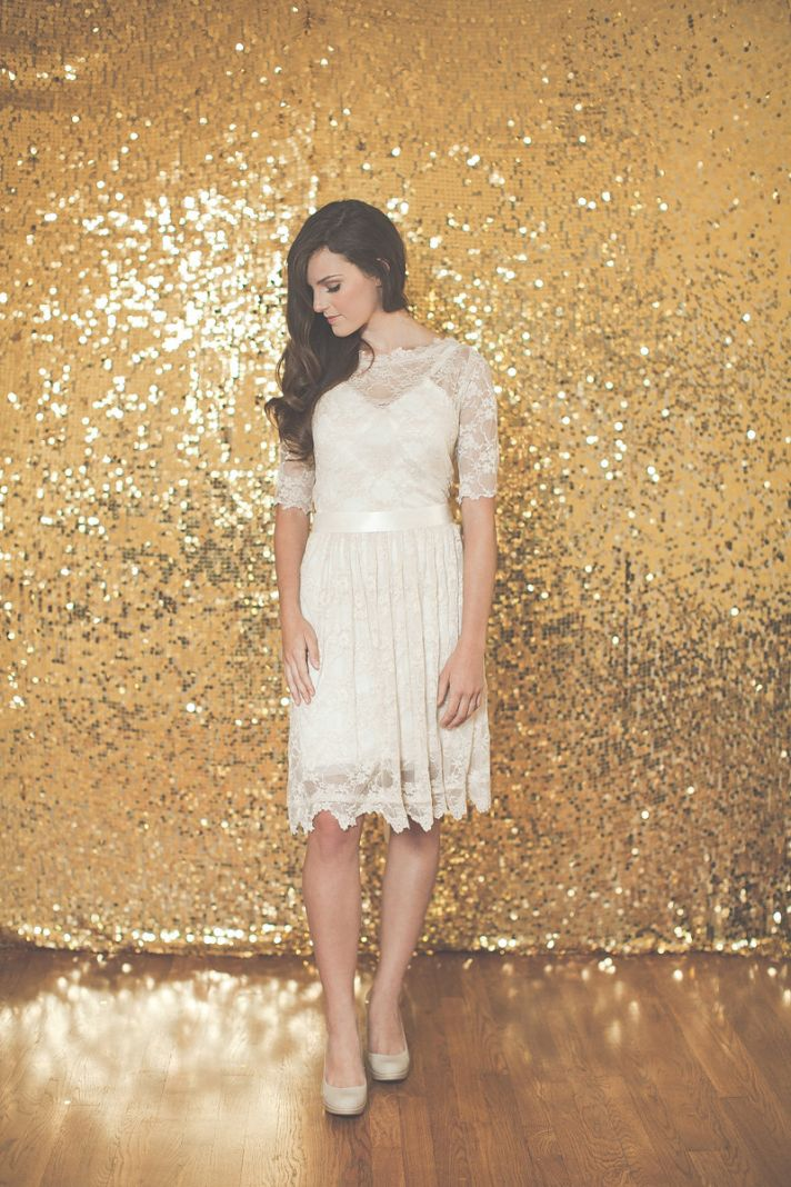 LWD for Wedding Reception with Sheer Lace Sleeves