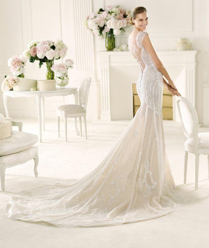 2013 Wedding Dress with Illusion Neckline by Manuel Mota