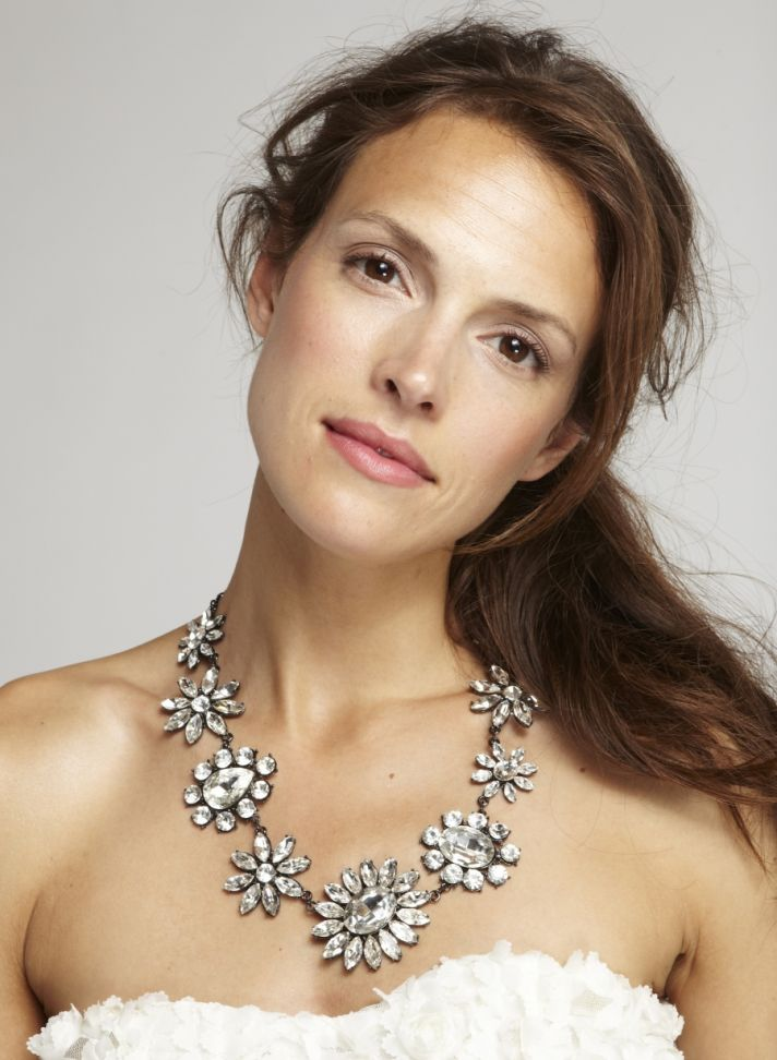 Statement Wedding Necklace Crystal Flowers