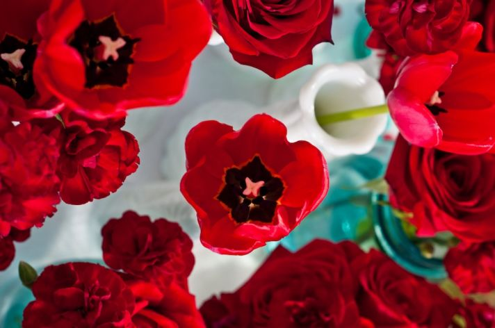 Deep Red Anemones Valentines Day Wedding Inspiration Simple Centerpieces