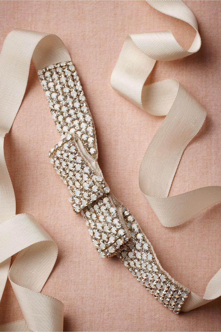 Ivory Embellished Bridal Belt Opals Crystals