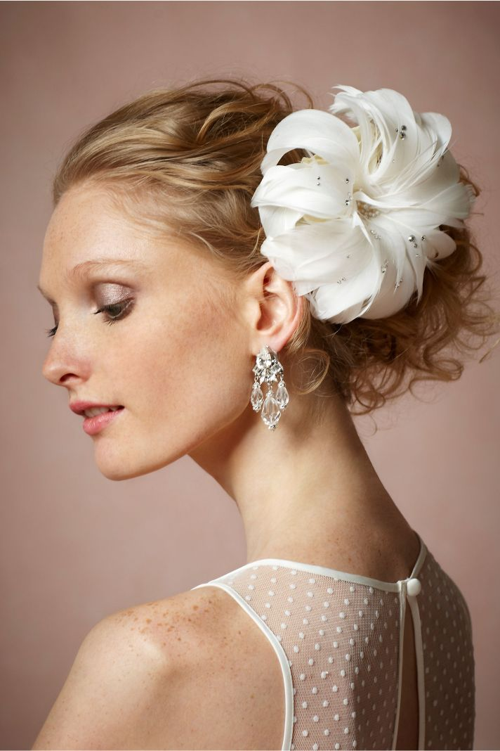 Feather Bridal Hairpiece with Crystaks