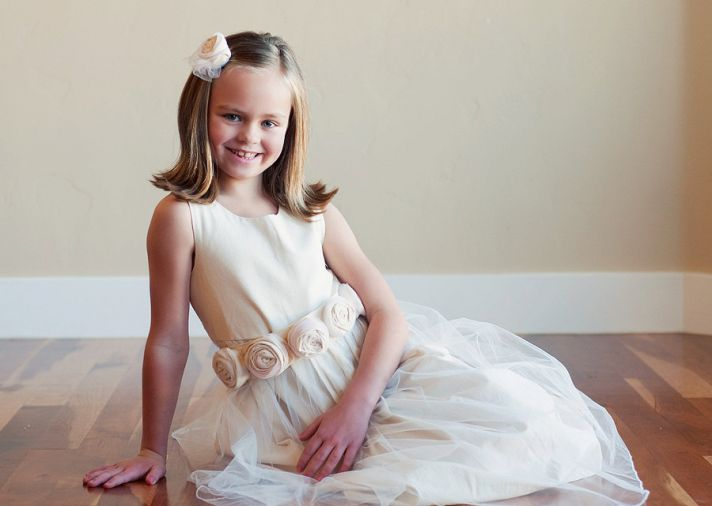 Princess Pink and White Flower Girl Dres