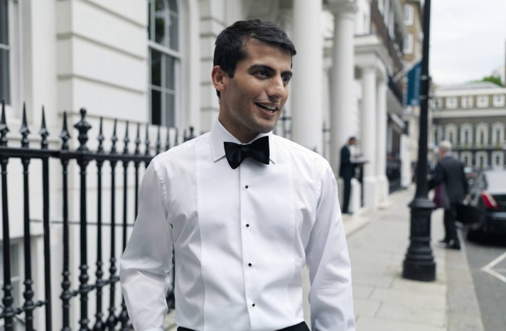 Dapper Black Tie Groom with Shirt Studs