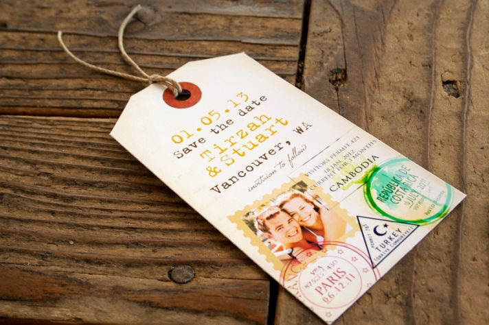 Passport Luggage Tag Wedding Save the Date