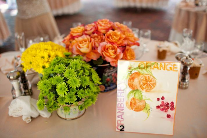 Handmade Wedding with Vintage Details Bright Centerpieces