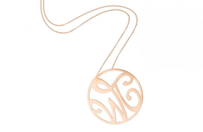 Rose Gold Bridal Necklace with Monogram