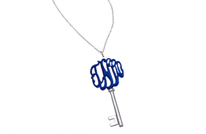 Silver and Blue Monogram Key Wedding Necklace