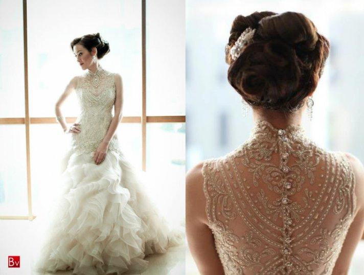 Beaded Illusion Neckline Wedding Dress 4