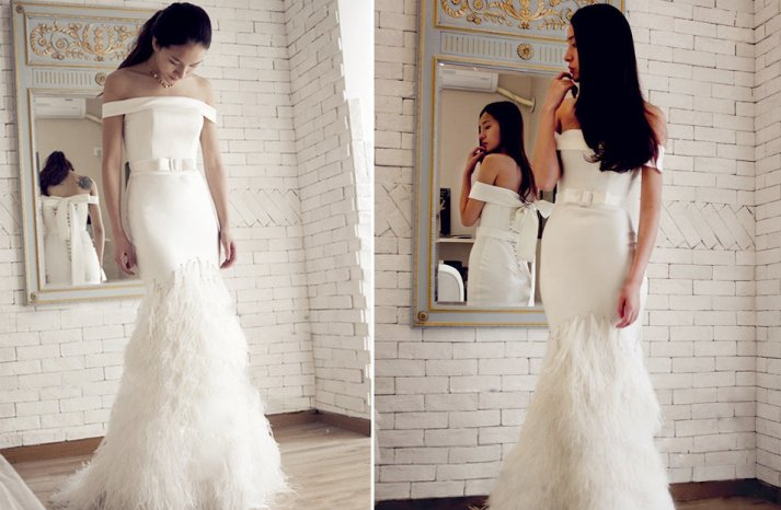 Feather Wedding Finds Great Gatsby Vintage Theme Mermaid Gown