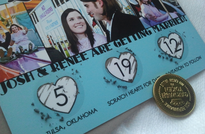 Scratch Off Wedding Save the Date Hearts Design