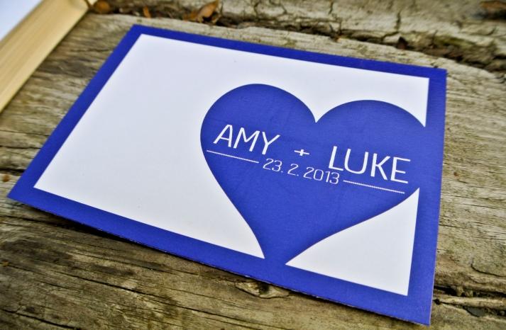 Custom Navy Blue Gray Wedding Invitation