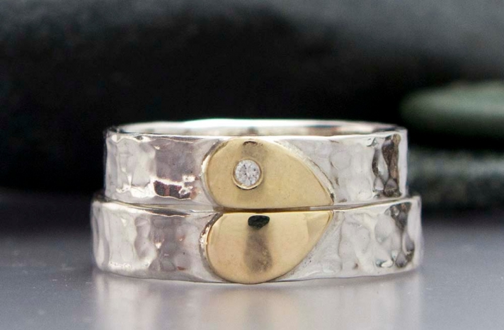 Diamond Heart Wedding Bands for the Bride and Groom