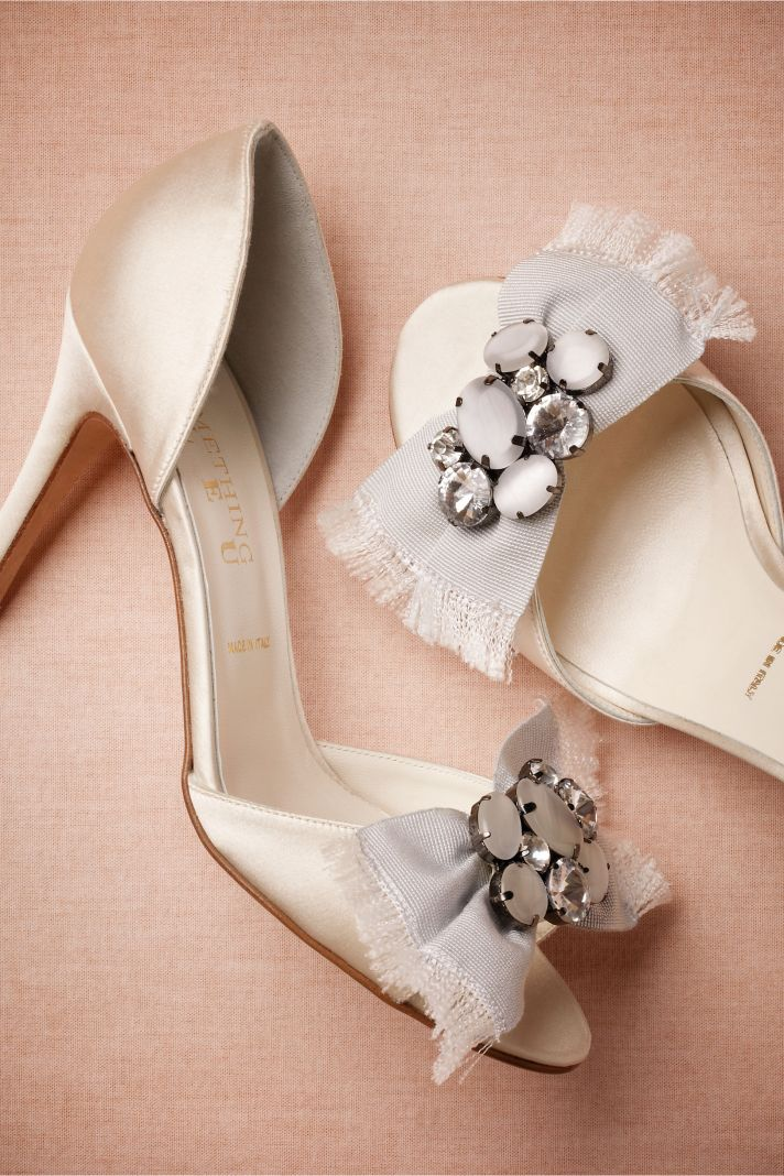 Classic White Wedding Shoes with Vintage Bow