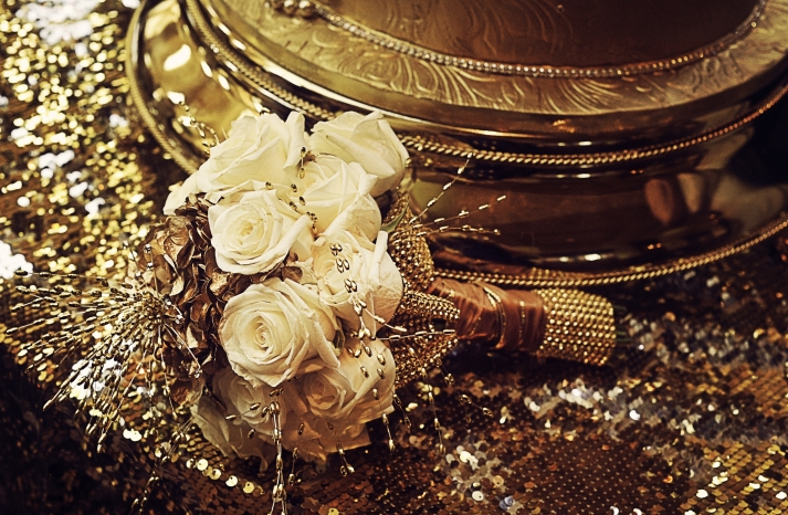 Ivory Bridal Bouquet with Sparkly Gold Backdrop