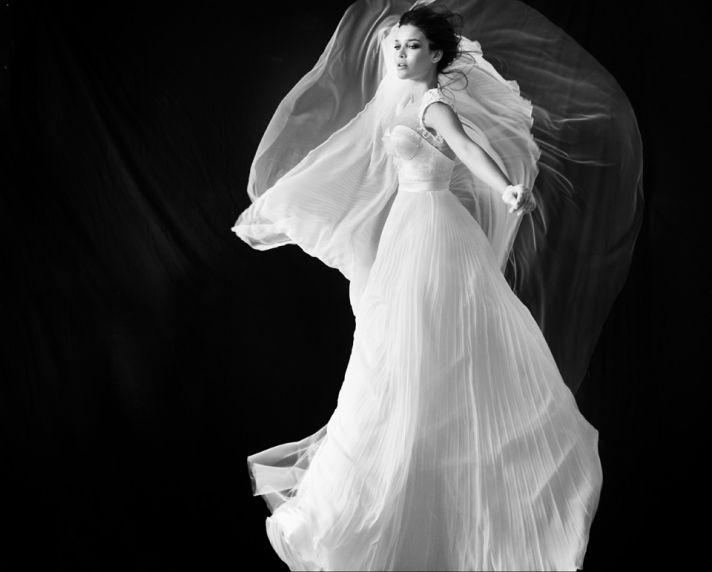 Point d esprit illusion neckline wedding dress
