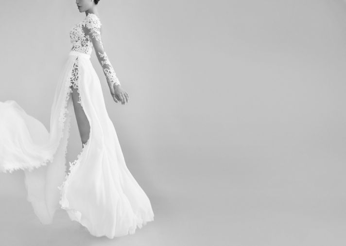 Daring Lace Wedding Dress with Sky High Slit