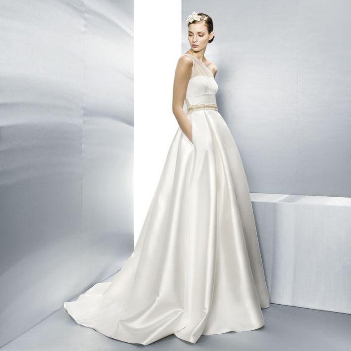 Jesus Peiro Wedding Dress One Shoulder Sheer with Pockets 3000