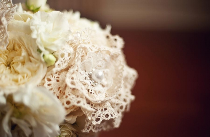 Lace doily Flowers in Wedding Bouquet