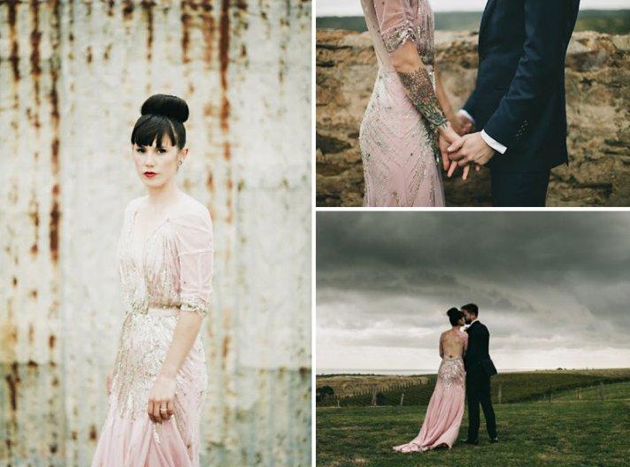 Pink Beaded Wedding Dress Rock n Roll bride