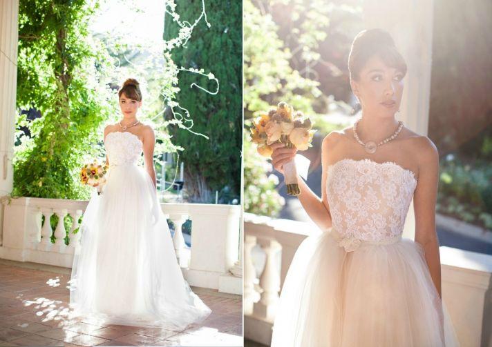 Classic Wedding Dress with Blush Ivory Lace Corset