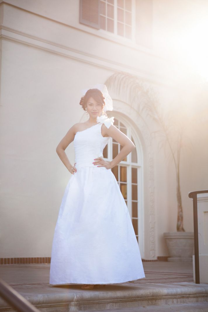 One shoulder lace wedding dress in white