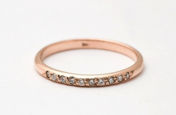 Simple Rose Gold Wedding Band with Diamonds