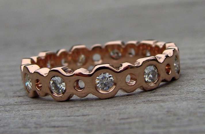 Moissanite and Rose Gold Wedding Band