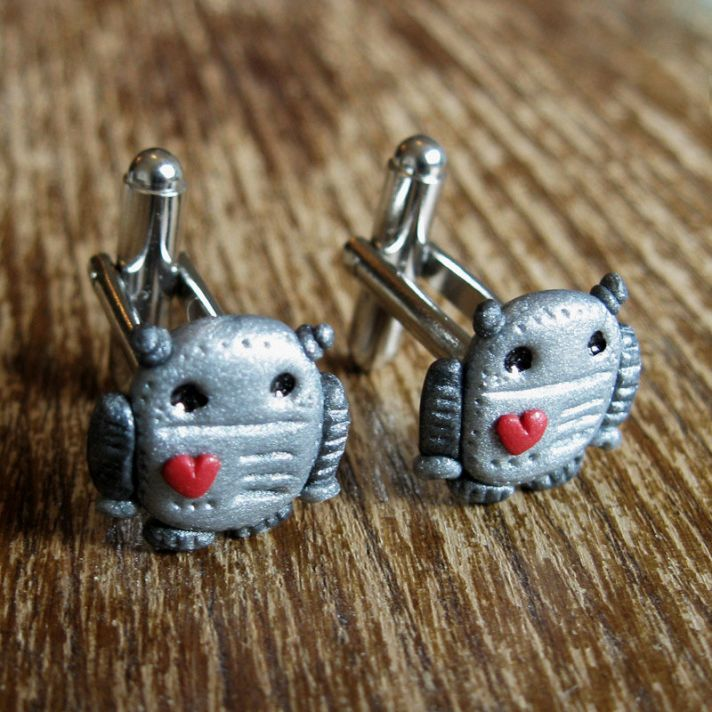 Robots in Love groom cuff links