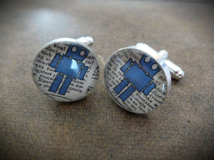 Silver Plated Grooms Cufflinks Tiny Robot