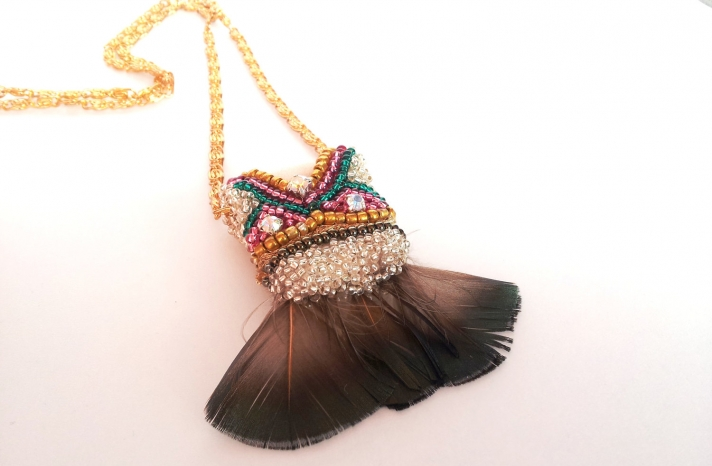 Tribal wedding necklace with feathers