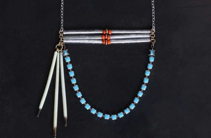 Tribal Bridal Necklace Turquoise Silver Coral