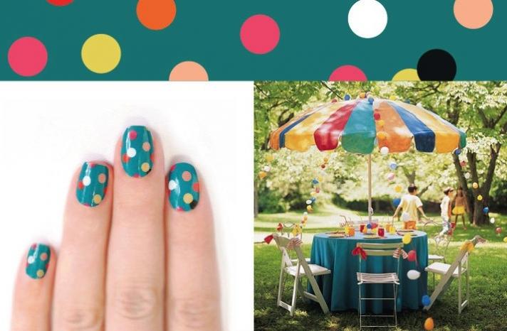 Colorful POlka Dots wedding day nails