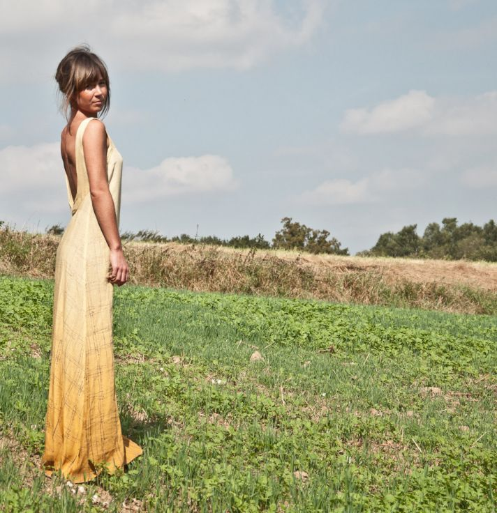 Alternative wedding dress low back burnout yellow