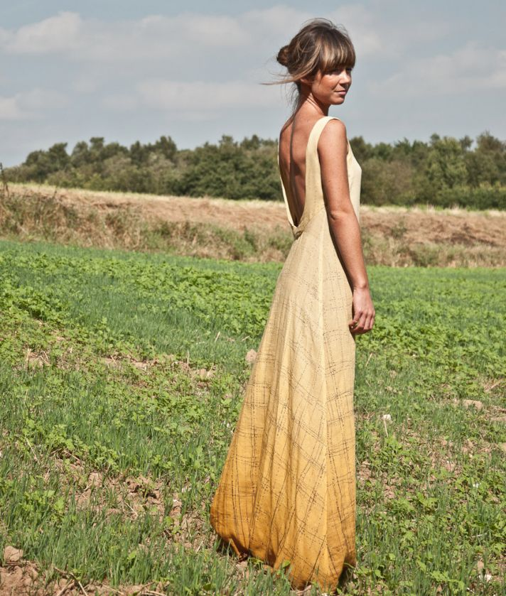 Alternative wedding dress low back burnout yellow