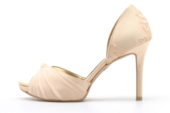 Romantic Nude Satin Wedding Shoes Floral Net