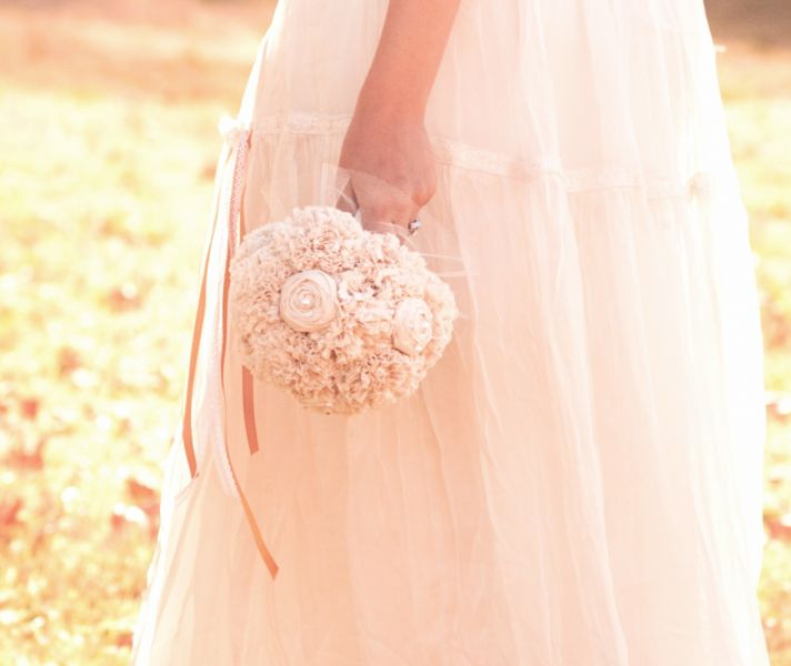 Ivory fabric flowers romantic vintage bridal bouquet