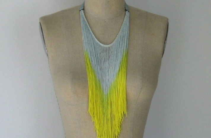 Fringe necklace for bridesmaids yellow and white